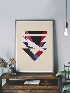 Paris has Fallen Minimal Geometric Print on a shelf
