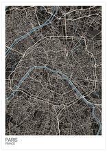 Load image into Gallery viewer, Paris Modern Map Art Print not in a frame