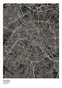 Paris Modern Map Art Print not in a frame