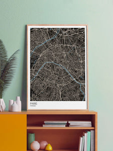 Paris Modern Map Art Print in a frame on a shelf