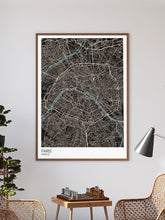 Load image into Gallery viewer, Paris Modern Map Art Print in a frame on a wall