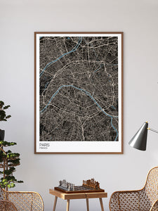 Paris Modern Map Art Print in a frame on a wall