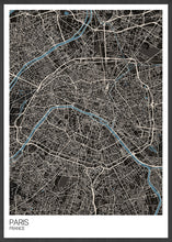 Load image into Gallery viewer, Paris Modern Map Art Print in a frame