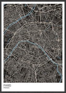 Paris Modern Map Art Print in a frame