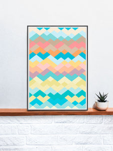 Pastel Beach Pastel Abstract Print on a Shelf
