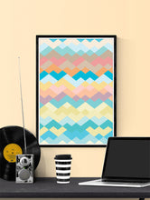 Load image into Gallery viewer, Pastel Beach Pastel Abstract Print on a Wall.