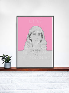 Patti Smith Contemporary Art Print in a frame on a shelf