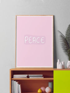 Peace Wall Art Print in a frame on a shelf
