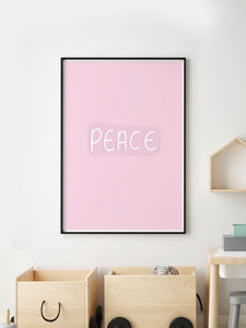 Peace Wall Art Print in a frame on a wall