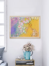 Load image into Gallery viewer, Peach Flowers Spiral Abstract Art in a nice bedroom