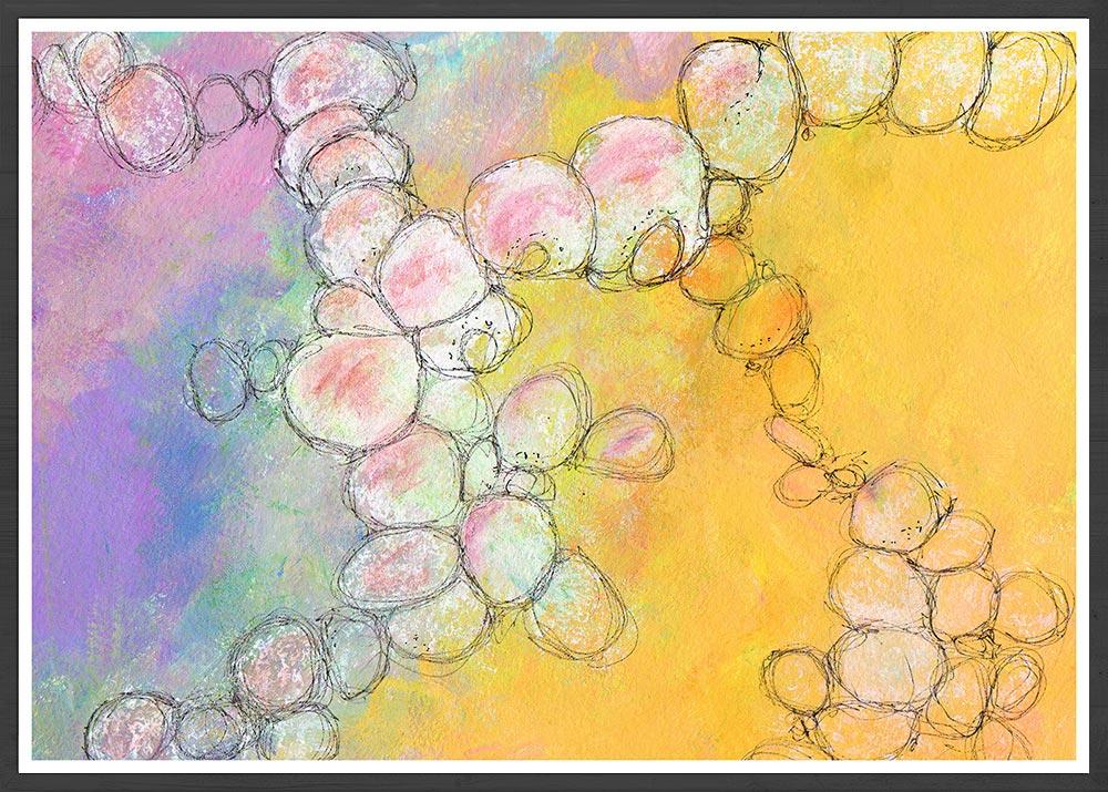 Peach Flowers Spiral Abstract Art in a frame