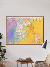 Load image into Gallery viewer, Peach Flowers Spiral Abstract Art in a lounge area