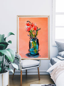 Peach Tulips Bouquet Wall Poster
