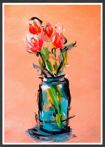 Peach Tulips Bouquet Print