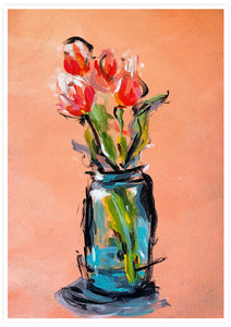 Peach Tulips Bouquet Wall Art