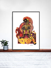 Load image into Gallery viewer, Pieta Digital Illustration Art Print in a frame on a shelf