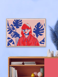 Pink Hair Don't Care Illustration Art In Modern Room