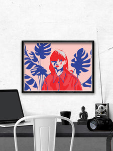 Pink Hair Don't Care Stylish Print Above A Desk