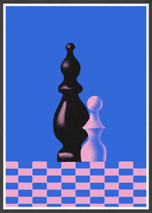 Piony Chess Piece Art Print in a frame