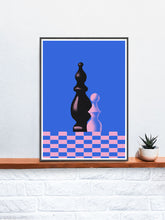Load image into Gallery viewer, Piony Chess Piece Art Print in a frame on a shelf