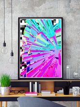 Load image into Gallery viewer, Pixel Crystal Glitch Wall Art in a frame on a shelf