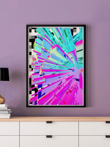Pixel Crystal Glitch Wall Art in a frame on a wall