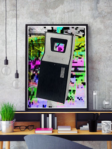 Play Screen Retro Art Print in a frame on a shelf
