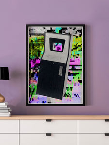 Play Screen Retro Art Print in a frame on a wall