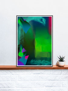 Pointed Point Green Abstract Art in a frame on a shelf