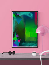Load image into Gallery viewer, Pointed Point Green Abstract Art in a frame on a wall