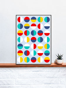 Pop Binary Abstract Art Print in a frame on a shelf