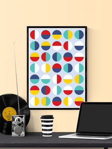 Pop Binary Abstract Art Print in a frame on a wall