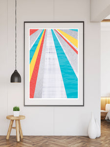 Pop Hole Colourful Geometric Art Print large print on a wall