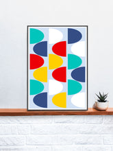 Load image into Gallery viewer, Pop Scales 1 Abstract Art Print in a frame on a shelf