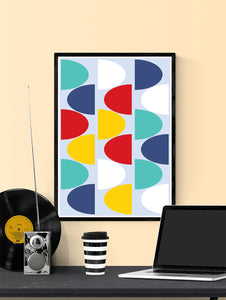Pop Scales 1 Abstract Art Print in a frame on a wall