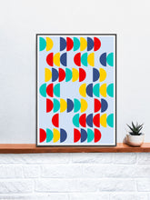 Load image into Gallery viewer, Pop Scales 2 Semi Circle Design Print in a frame on a shelf