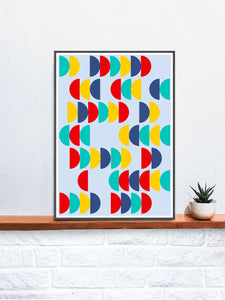 Pop Scales 2 Semi Circle Design Print in a frame on a shelf