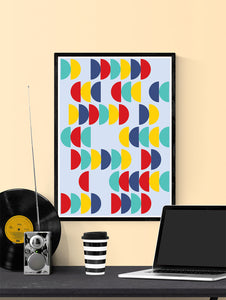 Pop Scales 2 Semi Circle Design Print in a frame on a wall