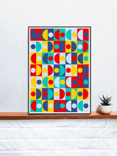 Load image into Gallery viewer, Pop Scales 3 Semi Circle Art Print in a frame on a shelf