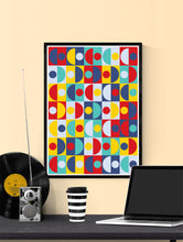 Load image into Gallery viewer, Pop Scales 3 Semi Circle Art Print in a frame on a wall