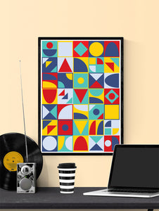 Pop Tones Shapes Abstract Art Print in a frame on a wall