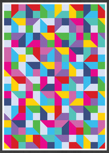 Popmetric Abstract Geometric Art Print in frame