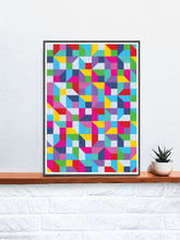 Load image into Gallery viewer, Popmetric Abstract Geometric Art Print in a frame on a shelf