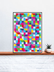 Popmetric Abstract Geometric Art Print in a frame on a shelf