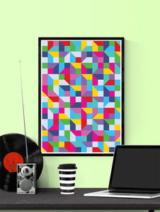 Popmetric Abstract Geometric Art Print in a frame on a wall