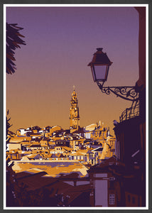 Clerigos Porto Street Illustration Art Print