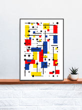 Load image into Gallery viewer, Primary 10 Line and Shape Art Print in a frame on a shelf