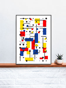 Primary 10 Line and Shape Art Print in a frame on a shelf