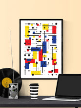 Load image into Gallery viewer, Primary 10 Line and Shape Art Print in a frame on a wall