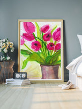 Load image into Gallery viewer, Pussycat Flower Painting Art in a modern room